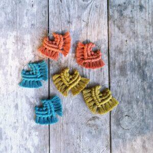Cotton yarn macrame earring 2